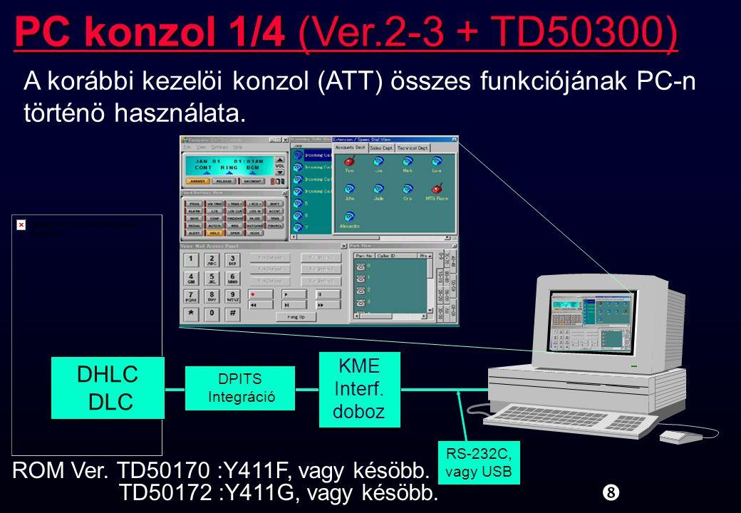 """KME Interf. doboz """" PC konzol 1/4 (Ver.2-3 + TD50300) DPITS Integráció ROM Ver. TD50170 :Y411F, vagy késöbb. TD50172 :Y411G, vagy késöbb. DHLC DLC RS-"""