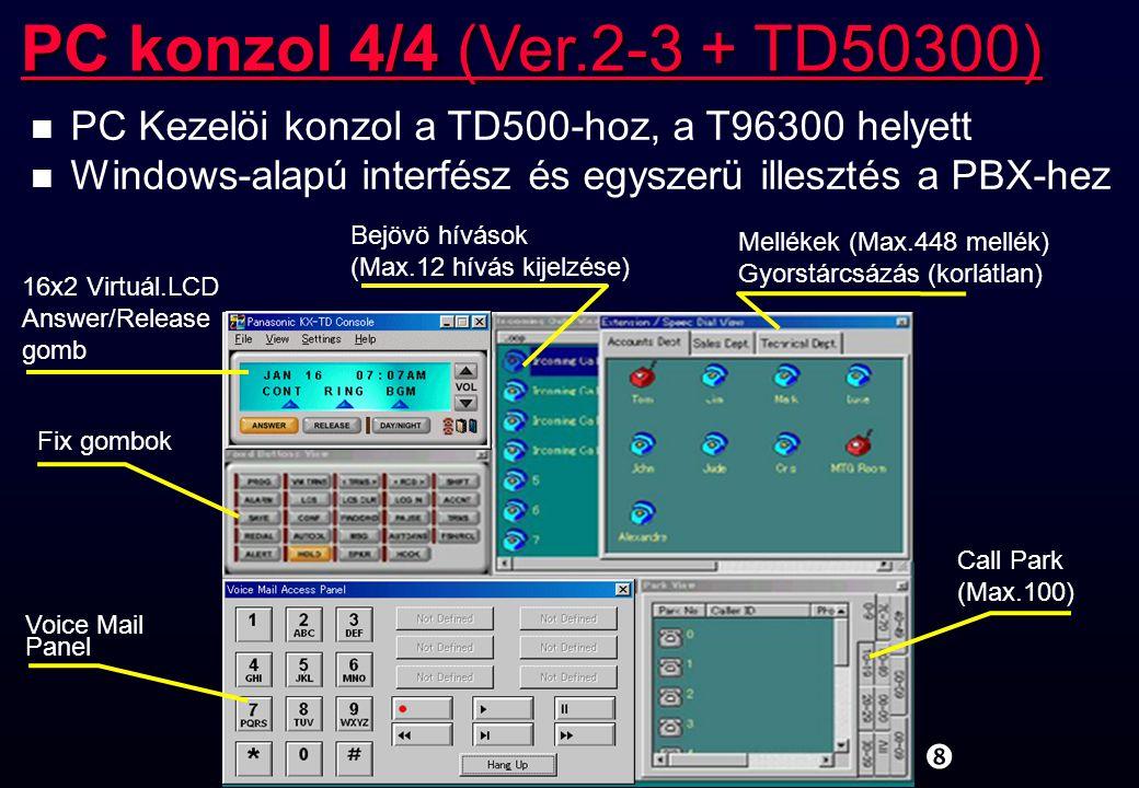 """"""" n PC Kezelöi konzol a TD500-hoz, a T96300 helyett n Windows-alapú interfész és egyszerü illesztés a PBX-hez PC konzol 4/4 (Ver.2-3 + TD50300) 16x2 V"""