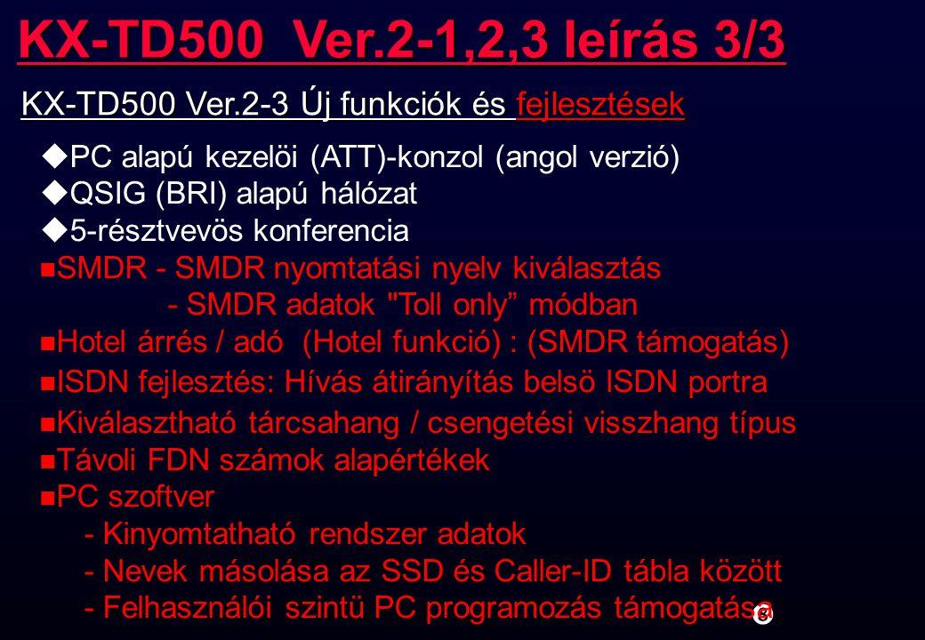 CTI szerver (WindowsNT4.0Server SP5) RS-232C KX-TD500 kliens PC (WindowsNT4.0SP5,98) EtherNet TAPI alkalmazás TAPI2 I/F Remote TSP CTI (TAPI 2.1) Rendszer konfiguráció Ez a funkció a V2-2-töl használható.