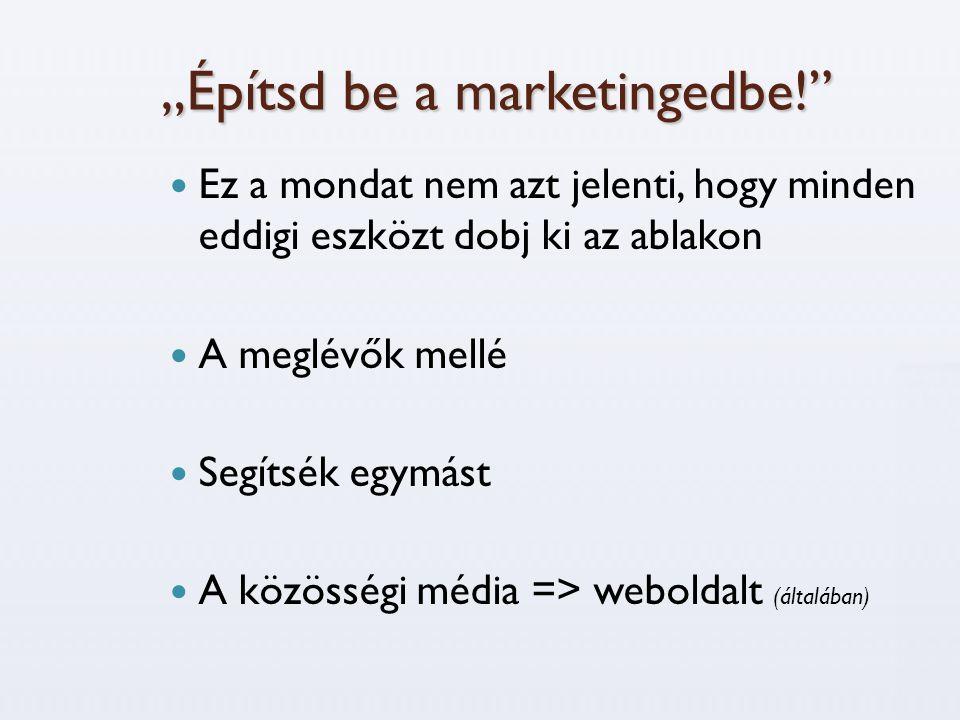 """""""Építsd be a marketingedbe!  Ez a mondat nem azt jelenti, hogy minden eddigi eszközt dobj ki az ablakon  A meglévők mellé  Segítsék egymást  A közösségi média => weboldalt (általában)"""