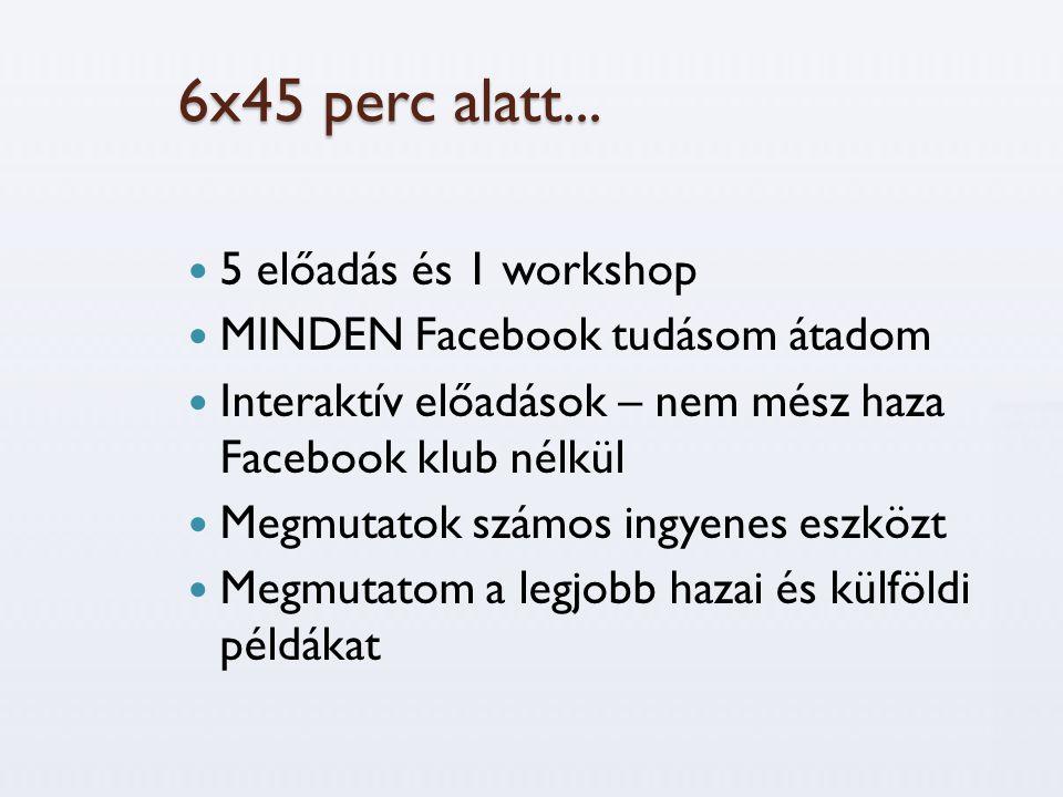 6x45 perc alatt...  5 előadás és 1 workshop  MINDEN Facebook tudásom átadom  Interaktív előadások – nem mész haza Facebook klub nélkül  Megmutatok