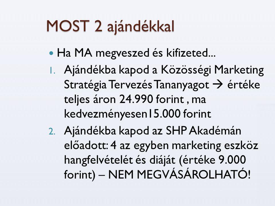 MOST 2 ajándékkal  Ha MA megveszed és kifizeted... 1. Ajándékba kapod a Közösségi Marketing Stratégia Tervezés Tananyagot  értéke teljes áron 24.990