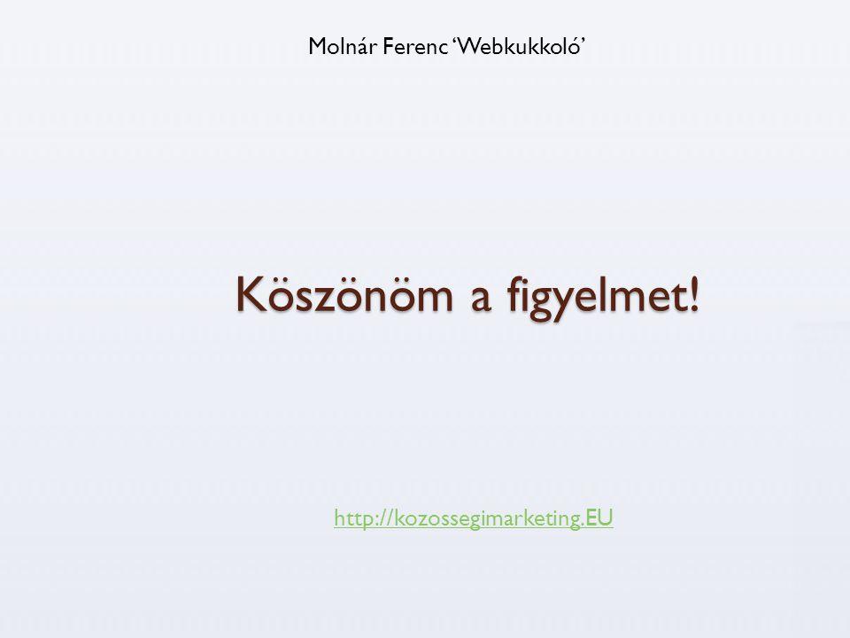 Köszönöm a figyelmet! Molnár Ferenc 'Webkukkoló' http://kozossegimarketing.EU