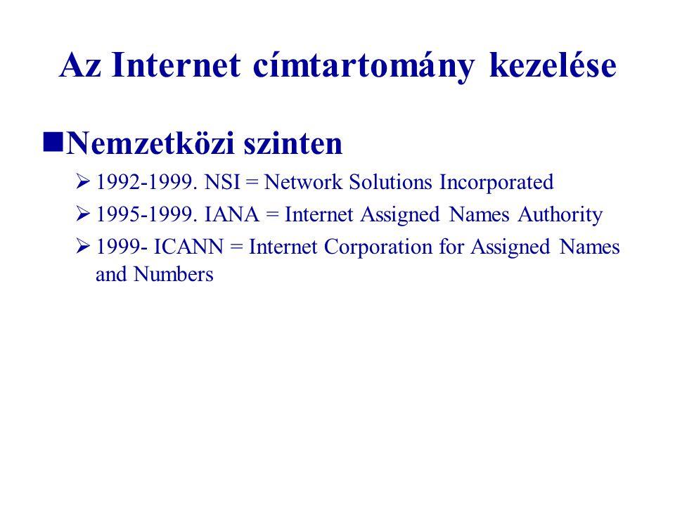 Az Internet címtartomány kezelése  Nemzetközi szinten  1992-1999. NSI = Network Solutions Incorporated  1995-1999. IANA = Internet Assigned Names A