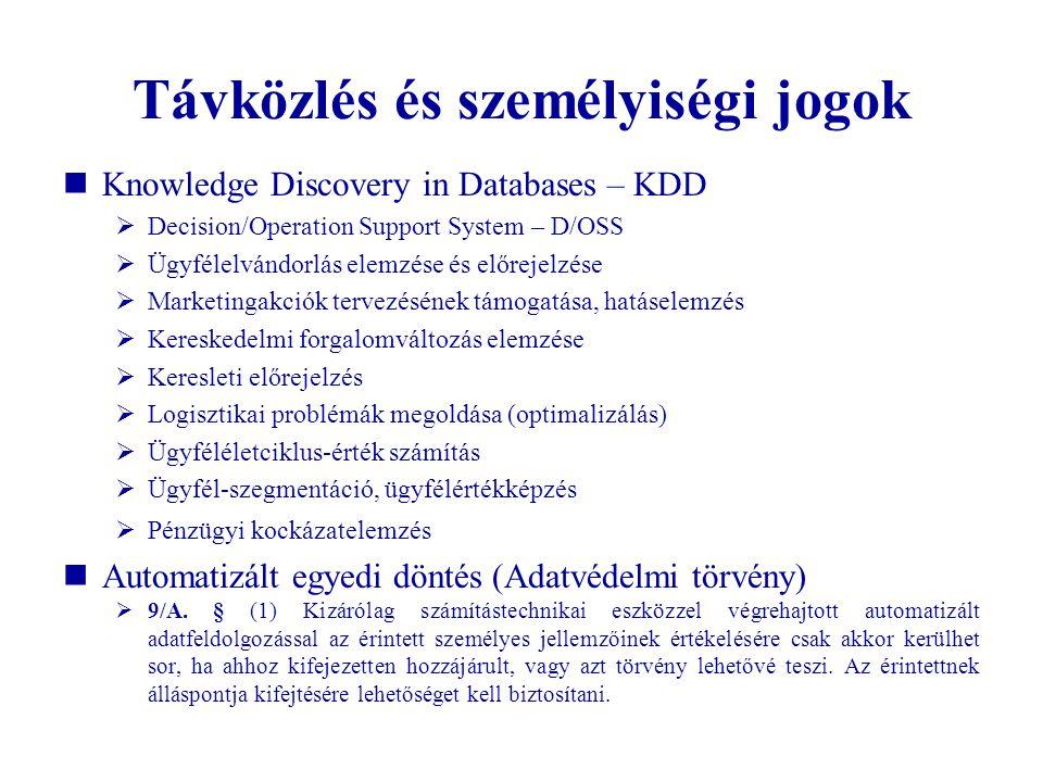 Távközlés és személyiségi jogok  Knowledge Discovery in Databases – KDD  Decision/Operation Support System – D/OSS  Ügyfélelvándorlás elemzése és e