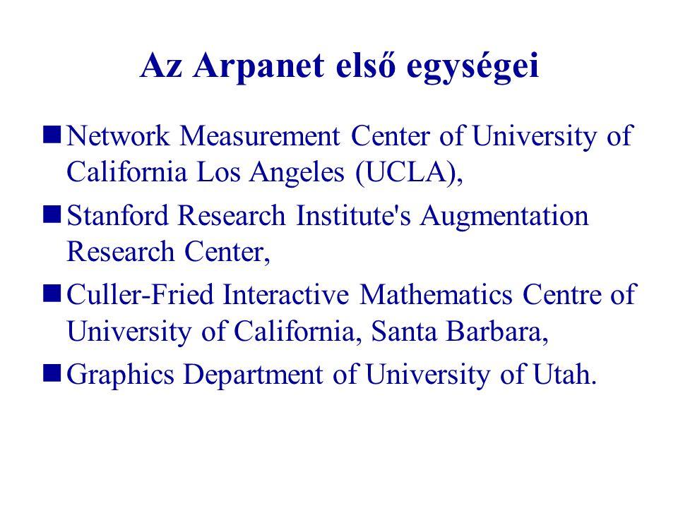Az Arpanet első egységei  Network Measurement Center of University of California Los Angeles (UCLA),  Stanford Research Institute's Augmentation Res
