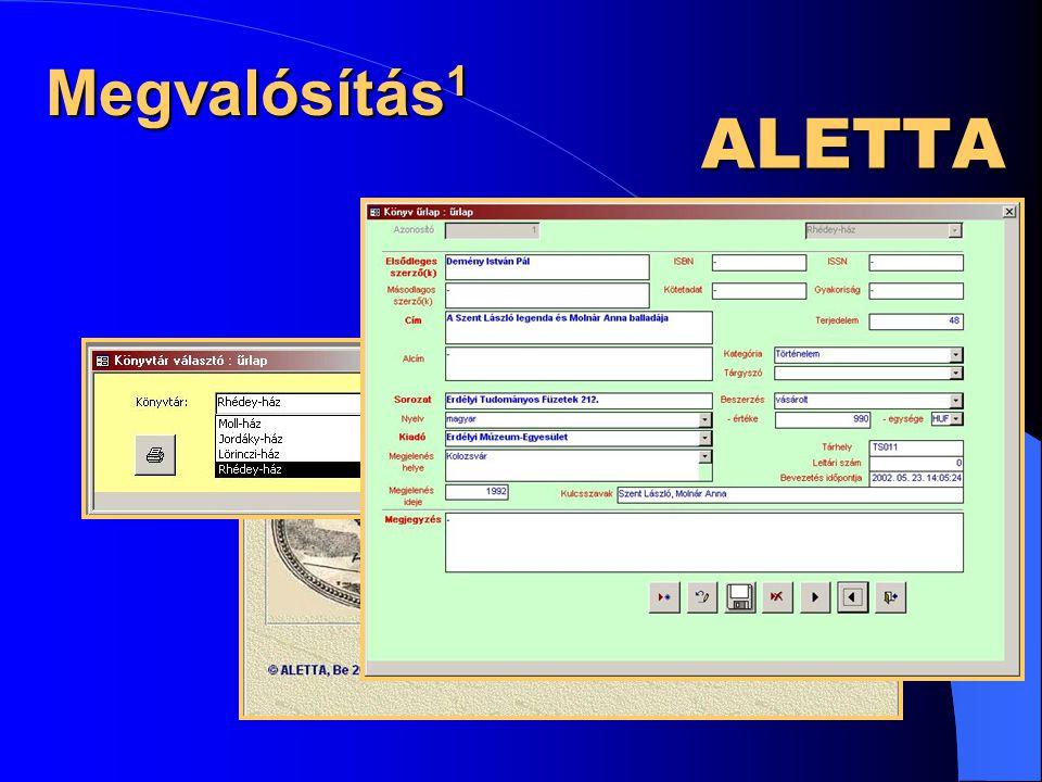 ALETTA Könyvtárprogram Megvalósítás 1