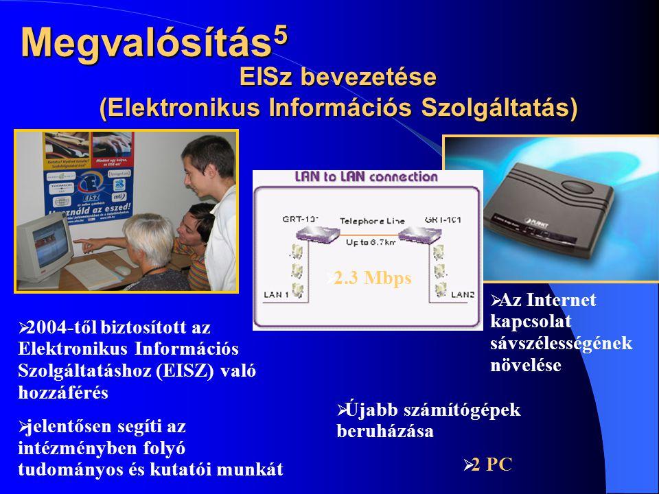 EISz bevezetése (Elektronikus Információs Szolgáltatás)  Az Internet kapcsolat sávszélességének növelése  2004-től biztosított az Elektronikus Információs Szolgáltatáshoz (EISZ) való hozzáférés  jelentősen segíti az intézményben folyó tudományos és kutatói munkát  2 PC  Újabb számítógépek beruházása  2.3 Mbps Megvalósítás 5