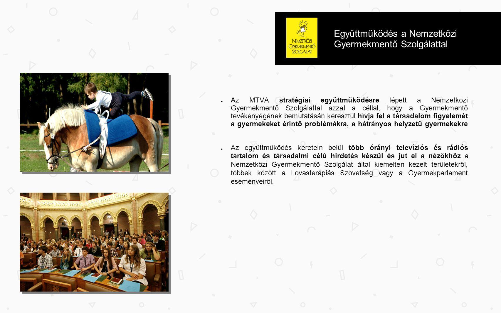 Együttműködés a Nemzetközi Gyermekmentő Szolgálattal ● Az MTVA stratégiai együttműködésre lépett a Nemzetközi Gyermekmentő Szolgálattal azzal a céllal, hogy a Gyermekmentő tevékenyégének bemutatásán keresztül hívja fel a társadalom figyelemét a gyermekeket érintő problémákra, a hátrányos helyzetű gyermekekre ● Az együttműködés keretein belül több órányi televíziós és rádiós tartalom és társadalmi célú hirdetés készül és jut el a nézőkhöz a Nemzetközi Gyermekmentő Szolgálat által kiemelten kezelt területekről, többek között a Lovasterápiás Szövetség vagy a Gyermekparlament eseményeiről.