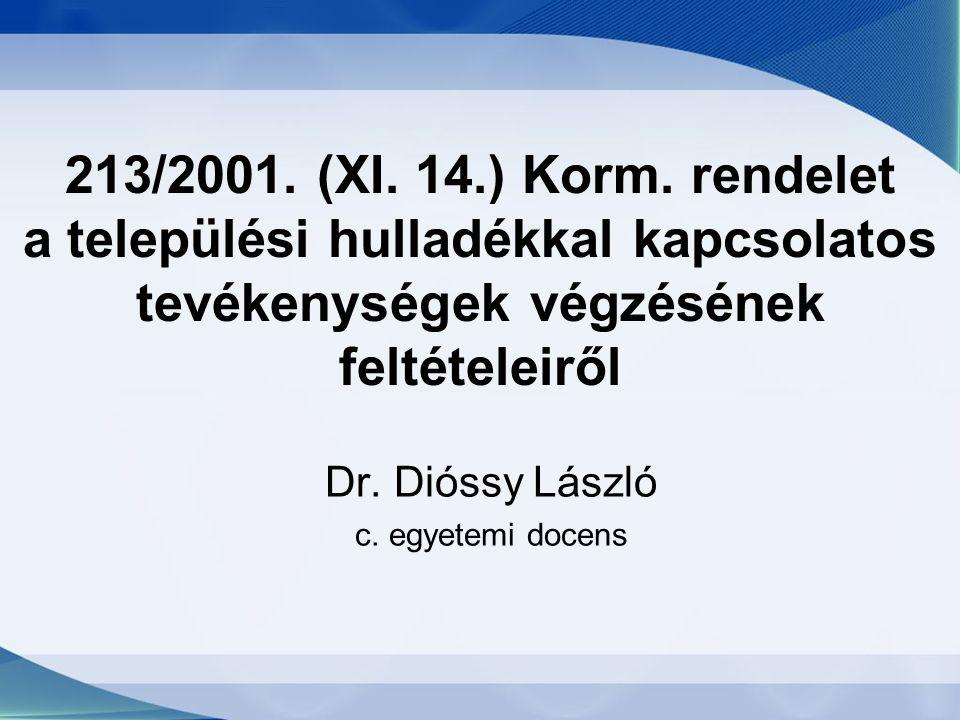 213/2001. (XI. 14.) Korm. rendelet a települési hulladékkal kapcsolatos tevékenységek végzésének feltételeiről Dr. Dióssy László c. egyetemi docens