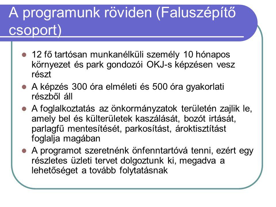 A programunk röviden (Faluszépítő csoport)  12 fő tartósan munkanélküli személy 10 hónapos környezet és park gondozói OKJ-s képzésen vesz részt  A k