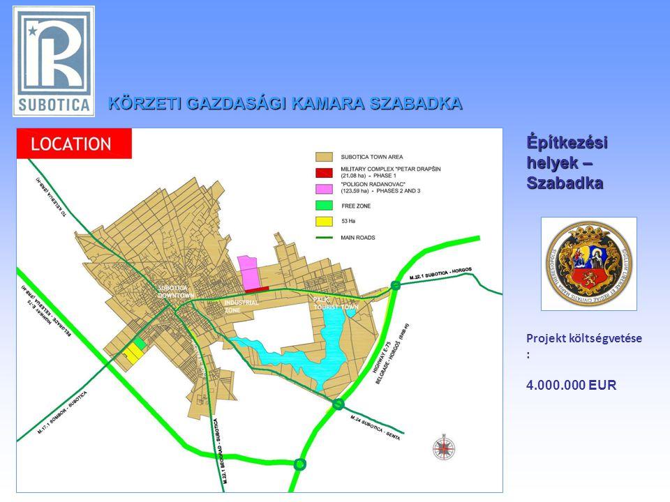 KÖRZETIGAZDASÁGI KAMARA SZABADKA KÖRZETI GAZDASÁGI KAMARA SZABADKA Építkezési helyek – Szabadka Projekt költségvetése : 4.000.000 EUR
