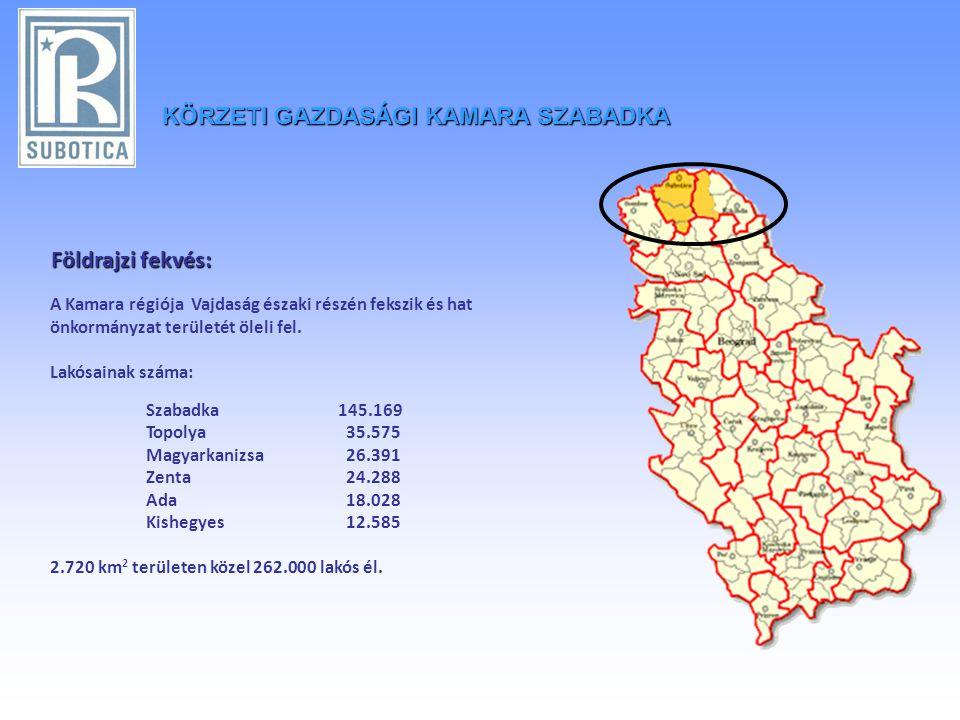 KÖRZETIGAZDASÁGI KAMARA SZABADKA KÖRZETI GAZDASÁGI KAMARA SZABADKA Földrajzi fekvés: Földrajzi fekvés: A Kamara régiója Vajdaság északi részén fekszik és hat önkormányzat területét öleli fel.