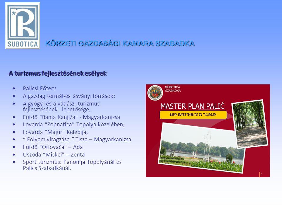 KÖRZETIGAZDASÁGI KAMARA SZABADKA KÖRZETI GAZDASÁGI KAMARA SZABADKA A turizmus fejlesztésének esélyei: •Palicsi Főterv •A gazdag termál-és ásványi források; •A gyógy- és a vadász- turizmus fejlesztésének lehetősége; •Fürdő Banja Kanjiža - Magyarkanizsa •Lovarda Zobnatica Topolya közelében, •Lovarda Majur Kelebija, • Folyam virágzása Tisza – Magyarkanizsa •Fürdő Orlovača – Ada •Uszoda Miškei – Zenta •Sport turizmus: Panonija Topolyánál és Palics Szabadkánál.