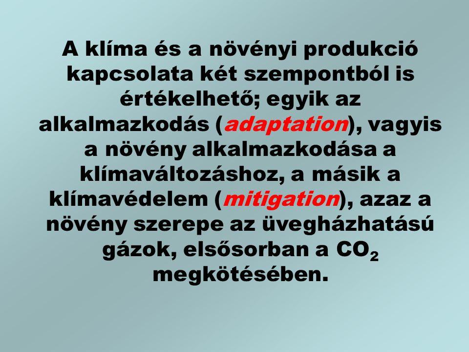 A klíma és a növényi produkció kapcsolata két szempontból is értékelhető; egyik az alkalmazkodás (adaptation), vagyis a növény alkalmazkodása a klímaváltozáshoz, a másik a klímavédelem (mitigation), azaz a növény szerepe az üvegházhatású gázok, elsősorban a CO 2 megkötésében.