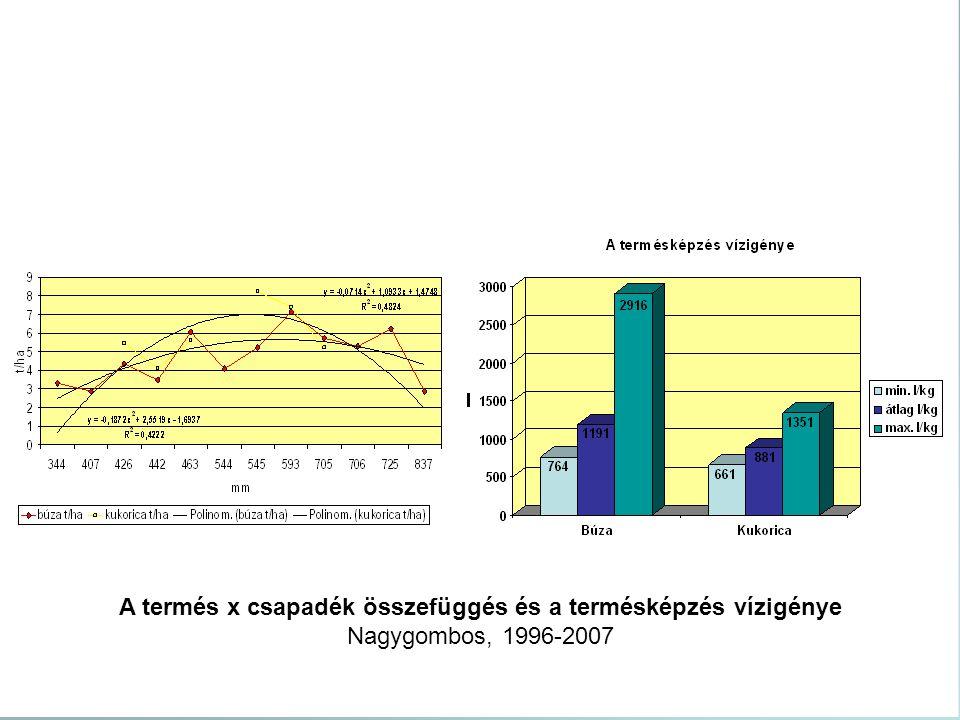 A termés x csapadék összefüggés és a termésképzés vízigénye Nagygombos, 1996-2007