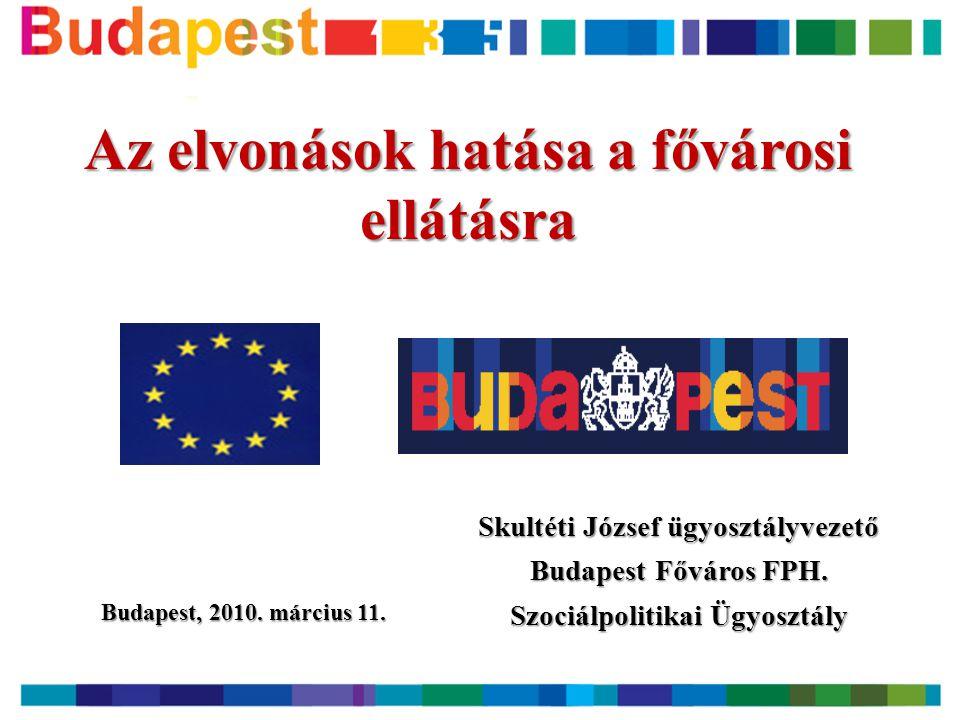 Kiemelt szociális jellemzők Magyarországon és Budapesten  A magyar társadalom lélekszáma 2050-ig 8 millió körüli lakosságszámot érhet el, így a jelenlegi 20%-ról 26%-ra nőhet a 60 éves és annál idősebb személyek aránya -lakosság 1980.01.01.:10709463 fő, 2009.01.01:10045401 fő, Bp-n 1702297 fő.