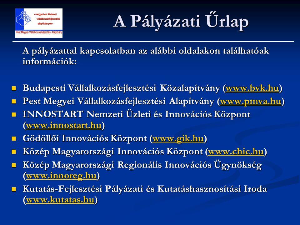 A pályázattal kapcsolatban az alábbi oldalakon találhatóak információk:  Budapesti Vállalkozásfejlesztési Közalapítvány (www.bvk.hu) www.bvk.hu  Pes