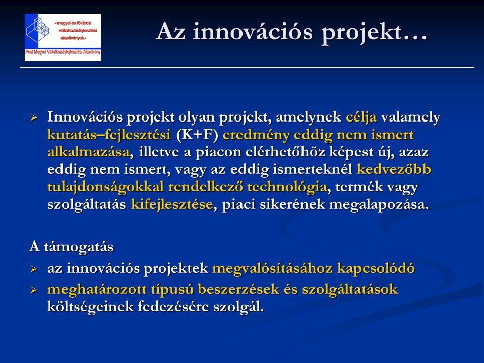  Innovációs projekt olyan projekt, amelynek célja valamely kutatás–fejlesztési (K+F) eredmény eddig nem ismert alkalmazása, illetve a piacon elérhető