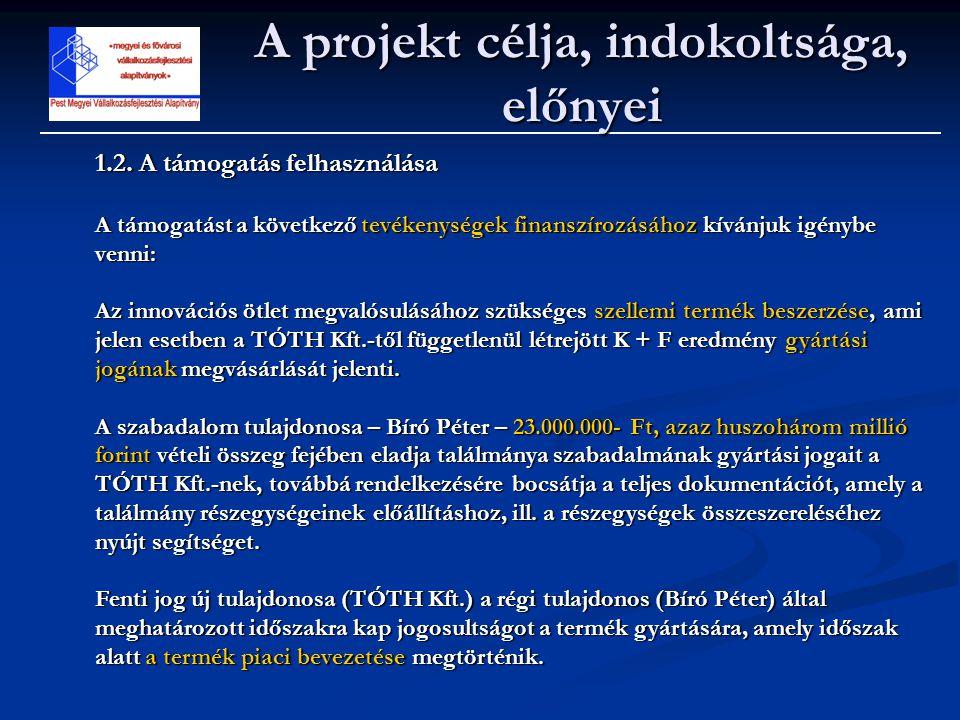 A projekt célja, indokoltsága, előnyei 1.2. A támogatás felhasználása A támogatást a következő tevékenységek finanszírozásához kívánjuk igénybe venni: