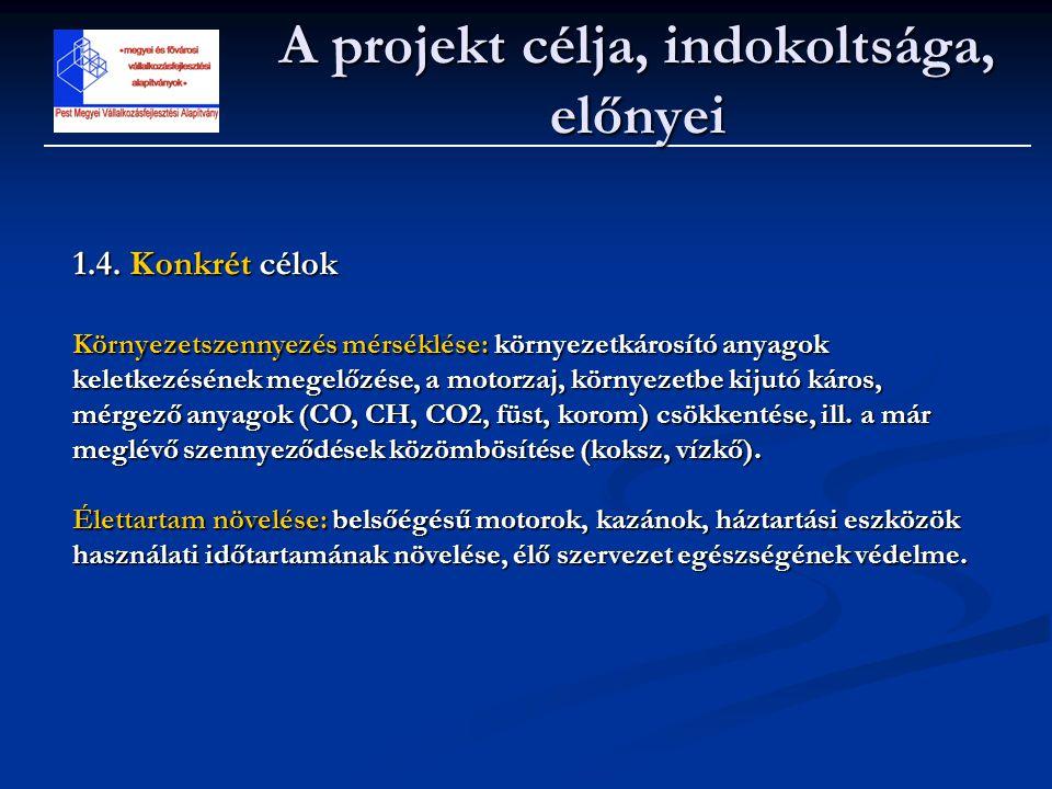 A projekt célja, indokoltsága, előnyei 1.4. Konkrét célok Környezetszennyezés mérséklése: környezetkárosító anyagok keletkezésének megelőzése, a motor
