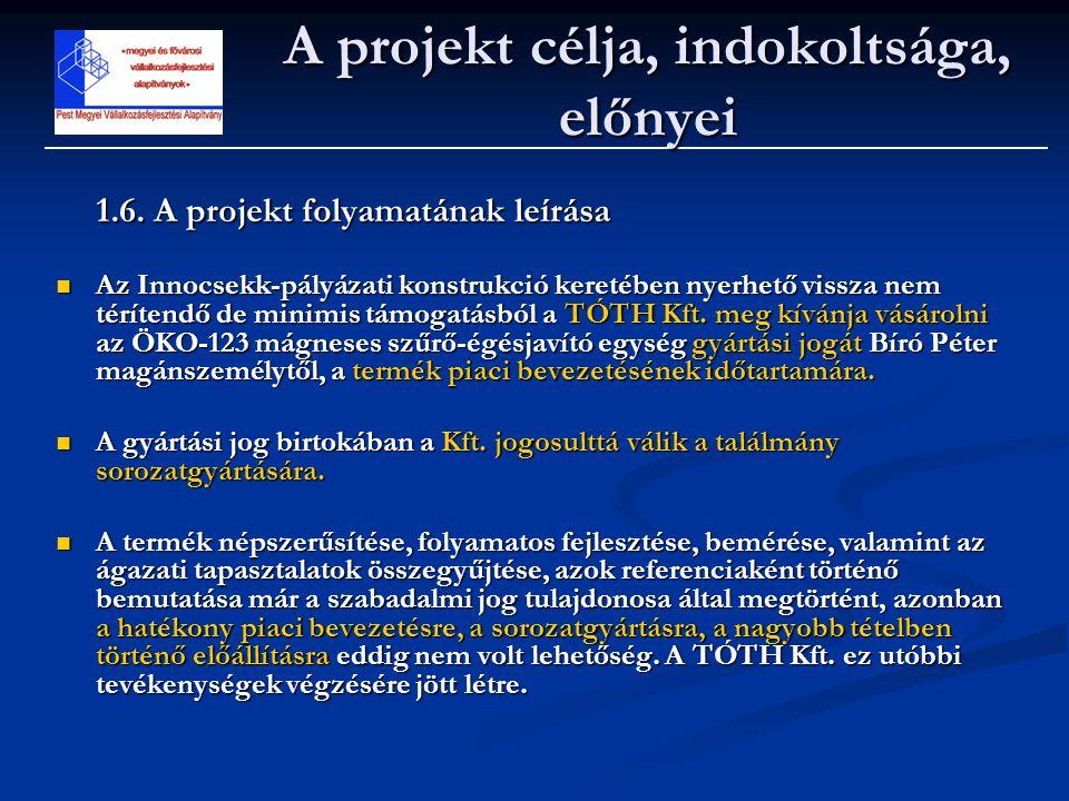 1.6. A projekt folyamatának leírása  Az Innocsekk-pályázati konstrukció keretében nyerhető vissza nem térítendő de minimis támogatásból a TÓTH Kft. m