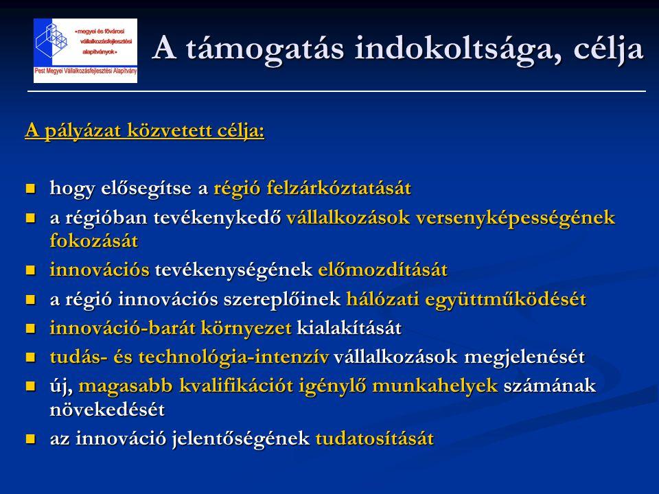 A támogatás forrása és összege A pályázat célkitűzéseinek elérése érdekében a Nemzeti Kutatási és Technológiai Hivatal 2005-től 2007-ig terjedő időszakra 5 Mrd Ft-ot biztosít az összes magyarországi régió számára.