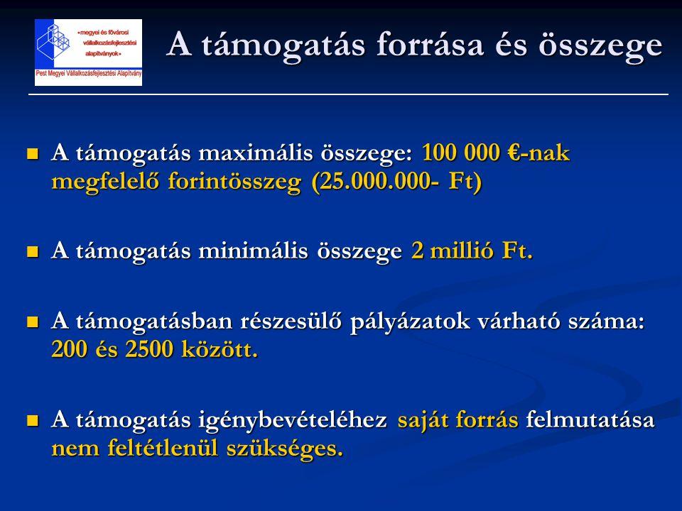  A támogatás maximális összege: 100 000 €-nak megfelelő forintösszeg (25.000.000- Ft)  A támogatás minimális összege 2 millió Ft.  A támogatásban r