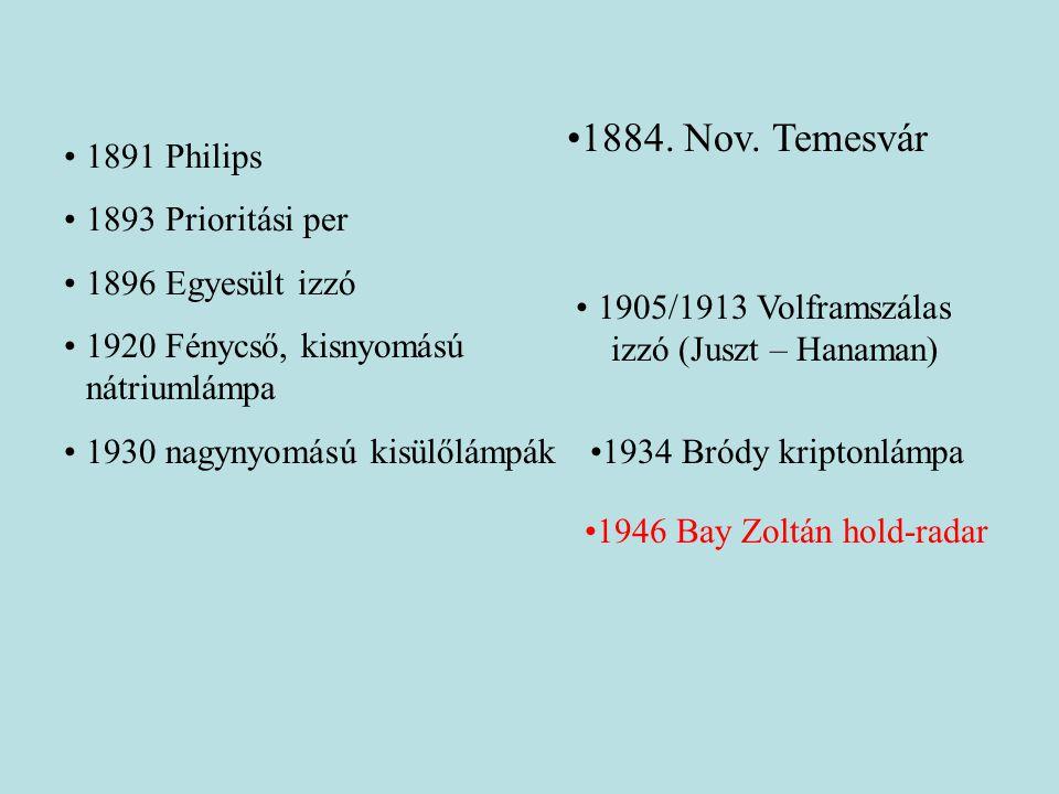 •1891 Philips •1893 Prioritási per •1896 Egyesült izzó •1920 Fénycső, kisnyomású nátriumlámpa •1930 nagynyomású kisülőlámpák •1905/1913 Volframszálas