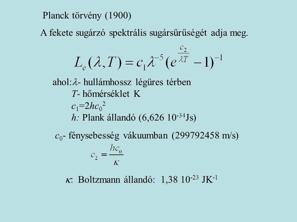 Planck törvény (1900) A fekete sugárzó spektrális sugársűrűségét adja meg. ahol:  - hullámhossz légüres térben T- hőmérséklet K c 1 =2hc 0 2 h: Plank