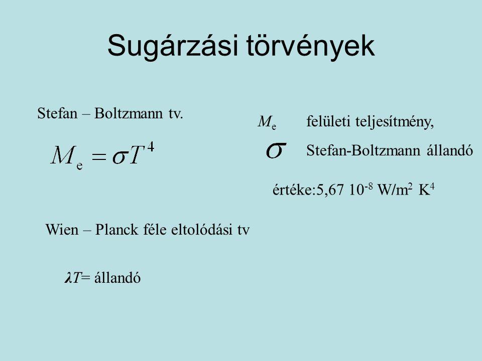 Sugárzási törvények Stefan – Boltzmann tv. M e felületi teljesítmény, Stefan-Boltzmann állandó értéke:5,67 10 -8 W/m 2 K 4 Wien – Planck féle eltolódá