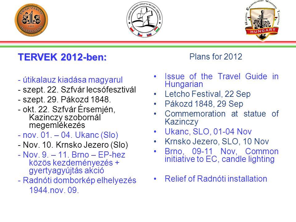 TERVEK 2012-ben: - útikalauz kiadása magyarul - szept.