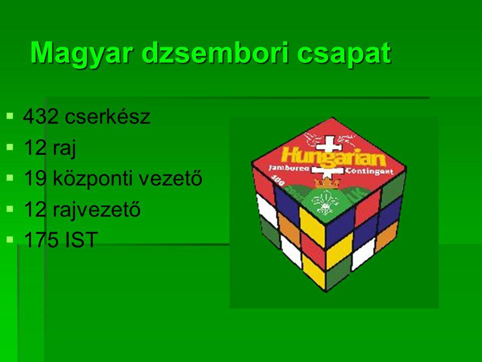 Magyar dzsembori csapat   432 cserkész   12 raj   19 központi vezető   12 rajvezető   175 IST
