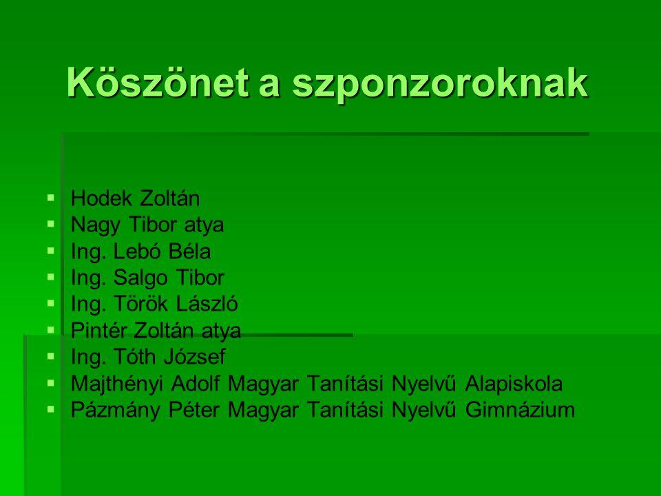 Köszönet a szponzoroknak   Hodek Zoltán   Nagy Tibor atya   Ing. Lebó Béla   Ing. Salgo Tibor   Ing. Török László   Pintér Zoltán atya  