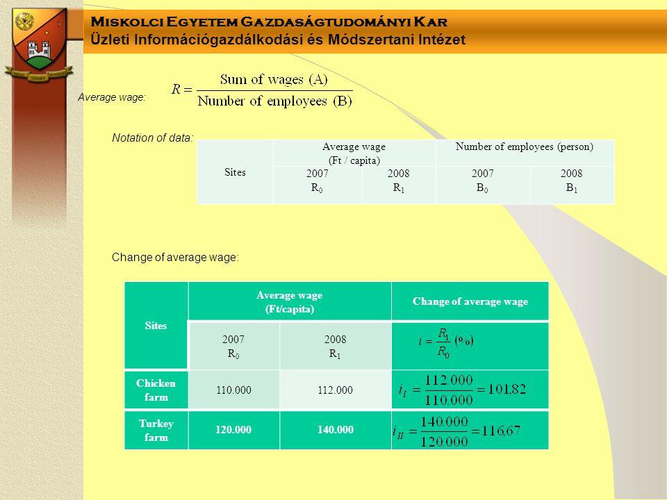 Miskolci Egyetem Gazdaságtudományi Kar Üzleti Információgazdálkodási és Módszertani Intézet Sites Average wage (Ft / capita) Number of employees (pers