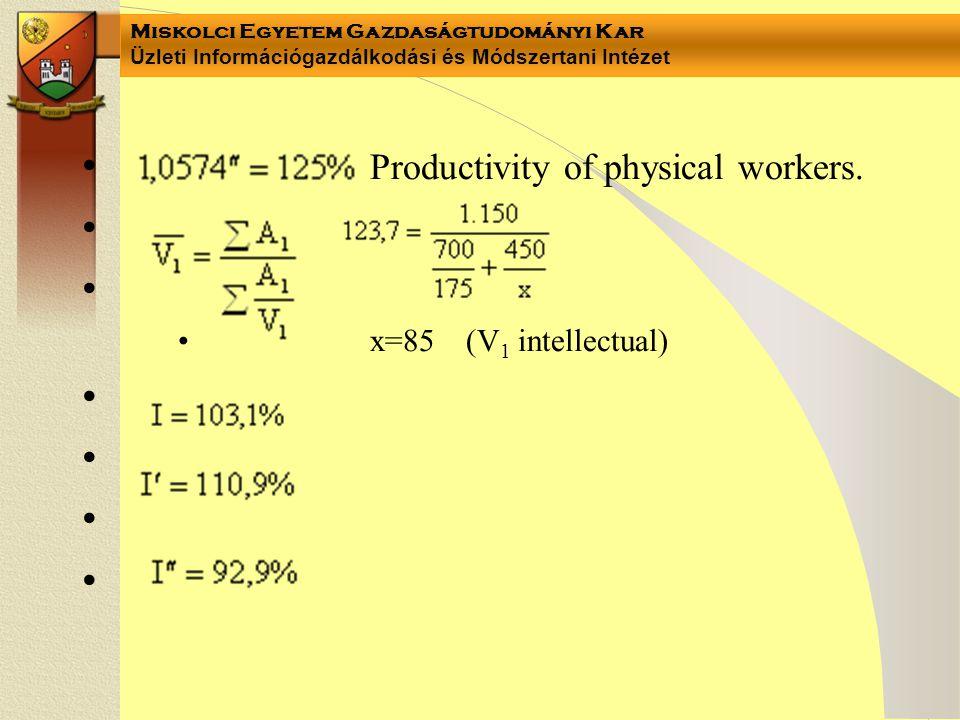 Miskolci Egyetem Gazdaságtudományi Kar Üzleti Információgazdálkodási és Módszertani Intézet • Productivity of physical workers.