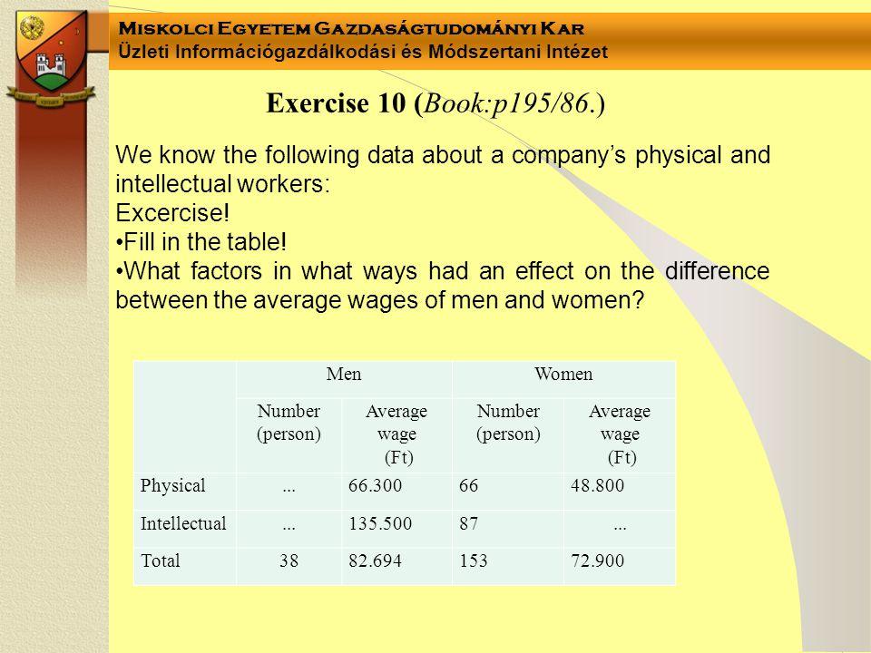 Miskolci Egyetem Gazdaságtudományi Kar Üzleti Információgazdálkodási és Módszertani Intézet Exercise 10 (Book:p195/86.) MenWomen Number (person) Avera