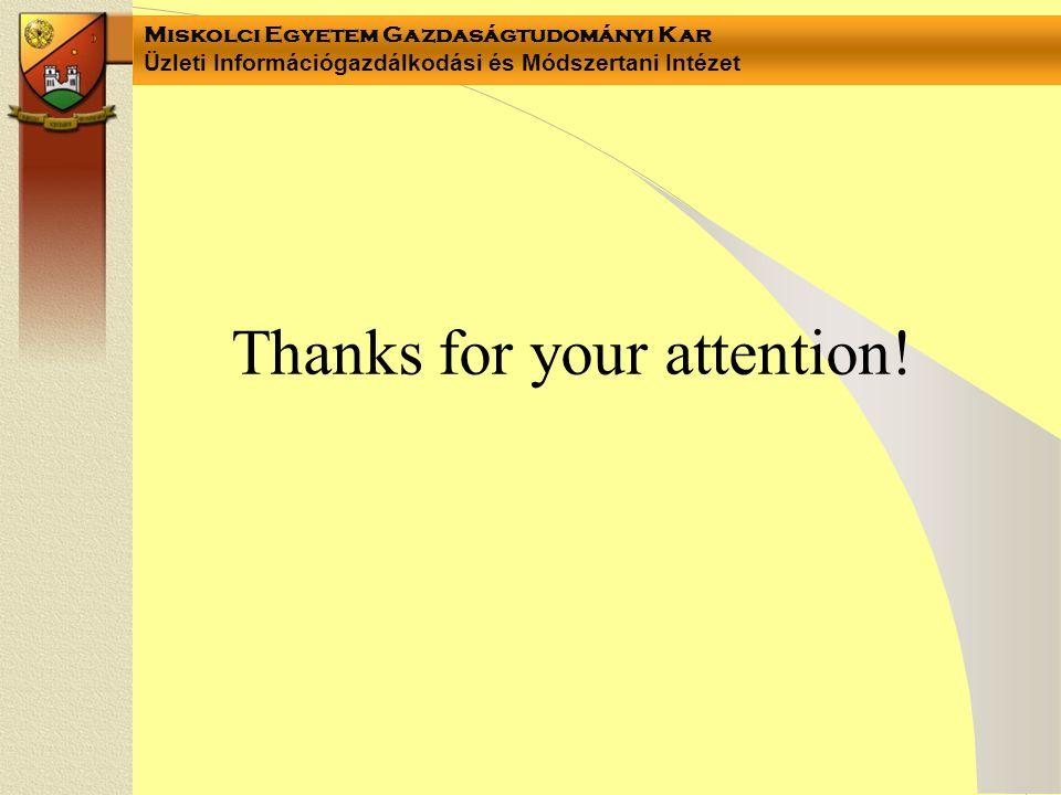 Miskolci Egyetem Gazdaságtudományi Kar Üzleti Információgazdálkodási és Módszertani Intézet Thanks for your attention!