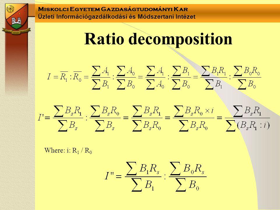 Miskolci Egyetem Gazdaságtudományi Kar Üzleti Információgazdálkodási és Módszertani Intézet Notes •I'=1 –The productivity (R) didn't change •I =1 –The composition (B) didn' change • I'=X% –When the productivity (R) change by X% in EVERY group