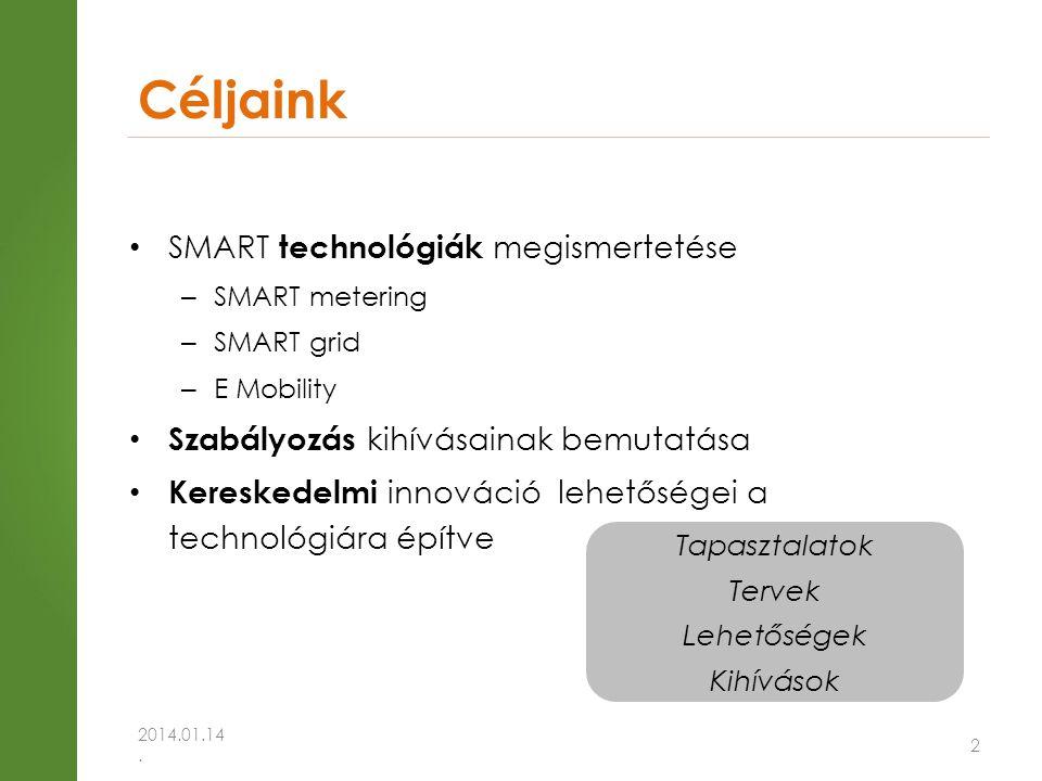 Céljaink • SMART technológiák megismertetése – SMART metering – SMART grid – E Mobility • Szabályozás kihívásainak bemutatása • Kereskedelmi innováció lehetőségei a technológiára építve 2014.01.14.