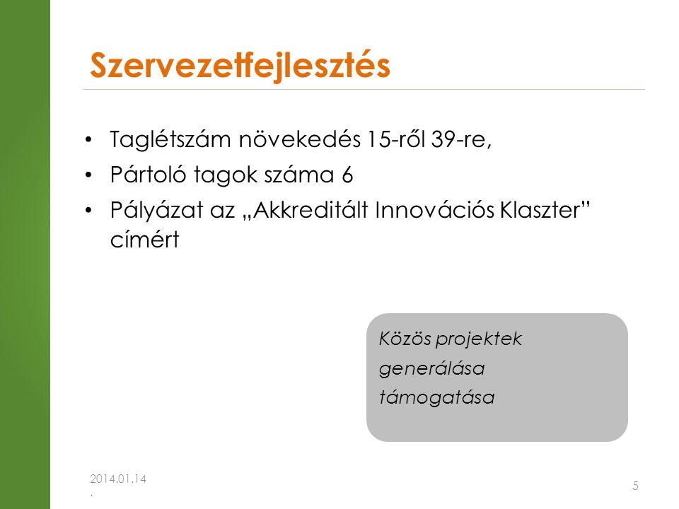 """5 • Taglétszám növekedés 15-ről 39-re, • Pártoló tagok száma 6 • Pályázat az """"Akkreditált Innovációs Klaszter címért Szervezetfejlesztés 2014.01.14."""