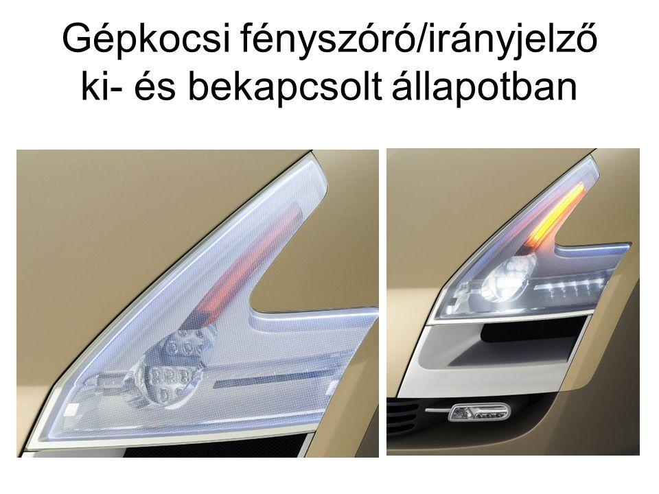 Gépkocsi fényszóró/irányjelző ki- és bekapcsolt állapotban