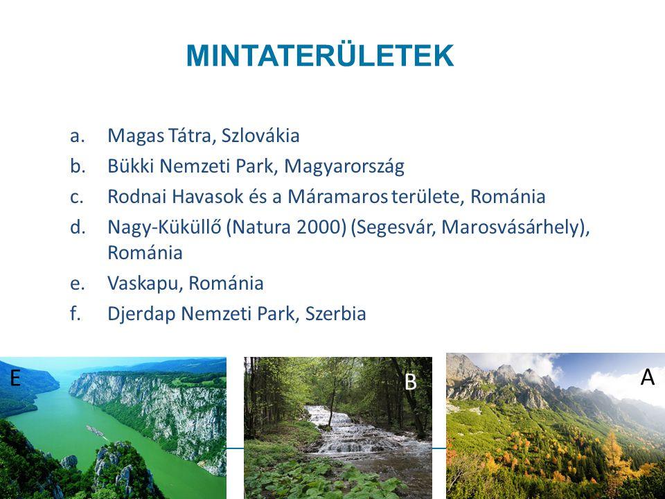 MINTATERÜLETEK a.Magas Tátra, Szlovákia b.Bükki Nemzeti Park, Magyarország c.Rodnai Havasok és a Máramaros területe, Románia d.Nagy-Küküllő (Natura 2000) (Segesvár, Marosvásárhely), Románia e.Vaskapu, Románia f.Djerdap Nemzeti Park, Szerbia E B A