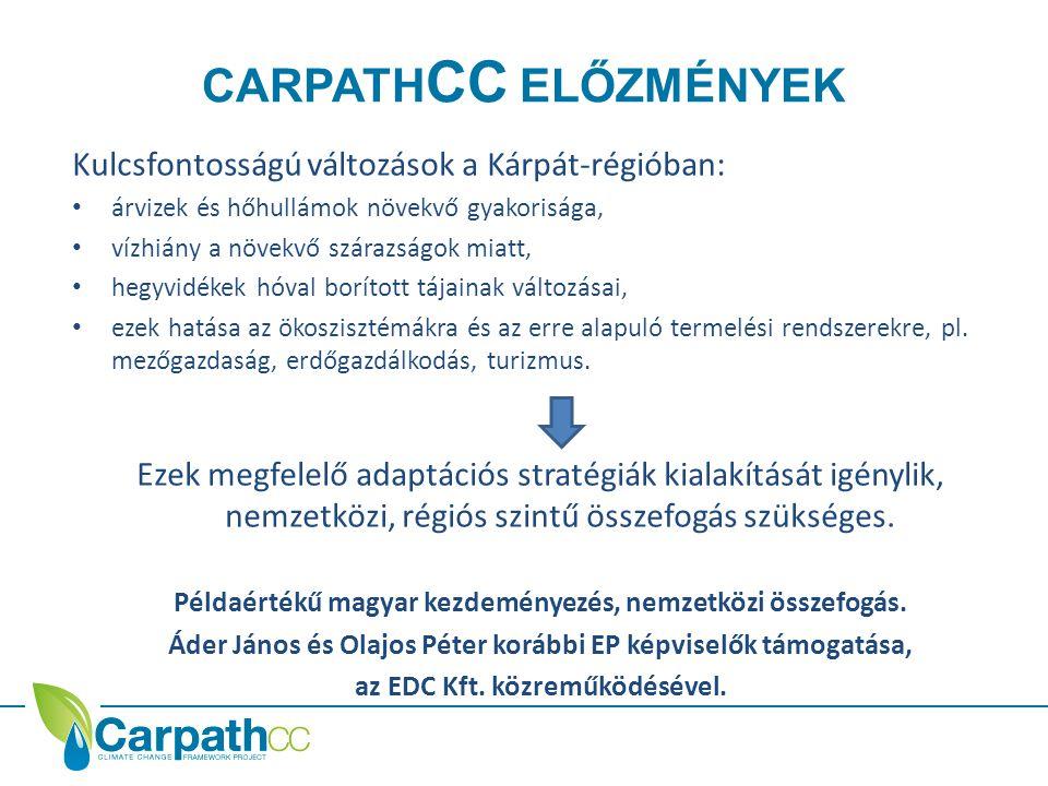 CARPATH CC ELŐZMÉNYEK Kulcsfontosságú változások a Kárpát-régióban: • árvizek és hőhullámok növekvő gyakorisága, • vízhiány a növekvő szárazságok miatt, • hegyvidékek hóval borított tájainak változásai, • ezek hatása az ökoszisztémákra és az erre alapuló termelési rendszerekre, pl.