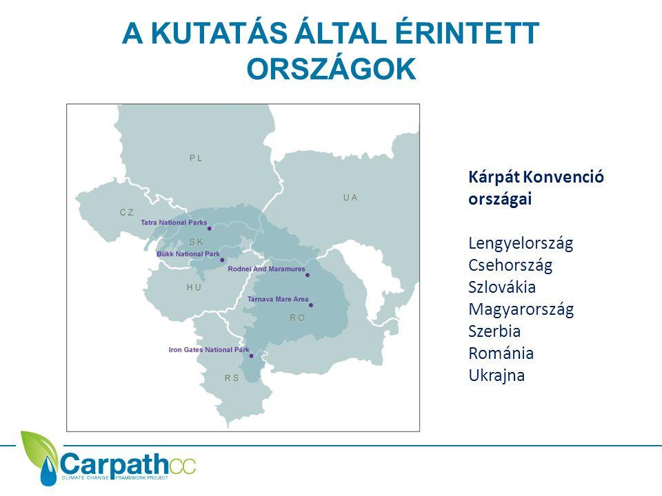 A KUTATÁS ÁLTAL ÉRINTETT ORSZÁGOK Kárpát Konvenció országai Lengyelország Csehország Szlovákia Magyarország Szerbia Románia Ukrajna