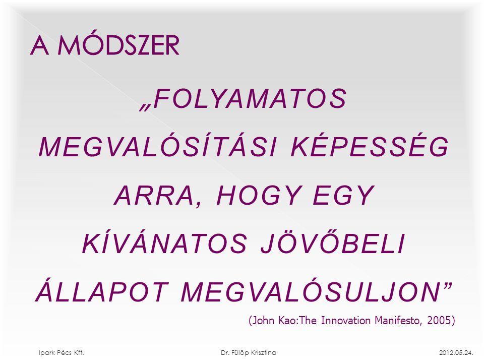 """"""" FOLYAMATOS MEGVALÓSÍTÁSI KÉPESSÉG ARRA, HOGY EGY KÍVÁNATOS JÖVŐBELI ÁLLAPOT MEGVALÓSULJON"""" (John Kao:The Innovation Manifesto, 2005) Ipark Pécs Kft."""