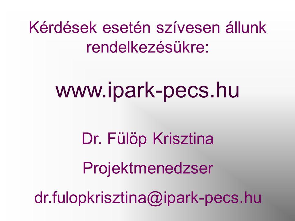 Kérdések esetén szívesen állunk rendelkezésükre: www.ipark-pecs.hu Dr. Fülöp Krisztina Projektmenedzser dr.fulopkrisztina@ipark-pecs.hu