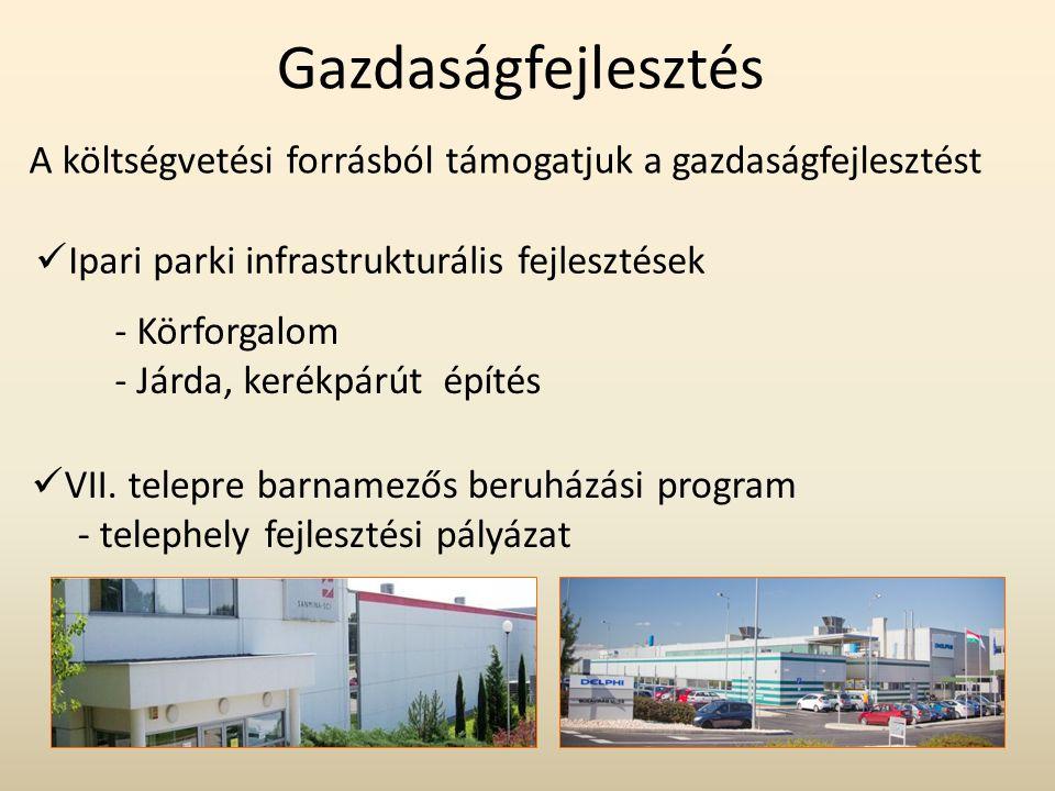 Gazdaságfejlesztés A költségvetési forrásból támogatjuk a gazdaságfejlesztést  Ipari parki infrastrukturális fejlesztések  VII. telepre barnamezős b
