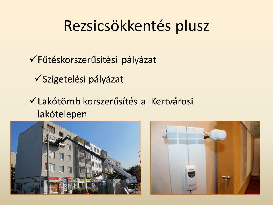 Rezsicsökkentés plusz  Fűtéskorszerűsítési pályázat  Szigetelési pályázat  Lakótömb korszerűsítés a Kertvárosi lakótelepen