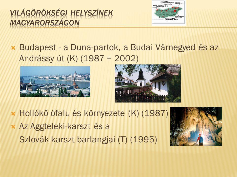 Budapest - a Duna-partok, a Budai Várnegyed és az Andrássy út (K) (1987 + 2002)  Hollókő ófalu és környezete (K) (1987)  Az Aggteleki-karszt és a
